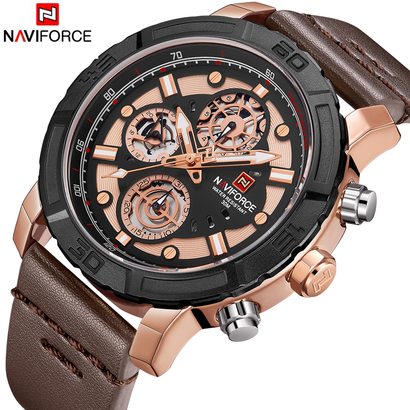 NAVIFORCE Brand Luxury Men's Watch Date 30M Waterproof Clock Male Casual Quartz Watches Men Wrist Sport Watch erkek kol saati 2018 fashion watch men retro design leather band analog alloy quartz wrist watch erkek kol saati