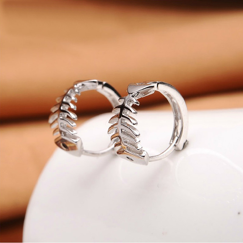 100 925 sterling silver fashion fish bone design ladies stud earrings jewelry Anti allergy female birthday gift drop shipping in Stud Earrings from Jewelry Accessories