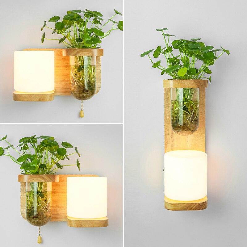Nordic Hout Wandlamp met Hydrocultuur Succulenten Bloem Glas Pot voor Woonkamer Naast Light Blaker Wandlamp Muur Art - 6