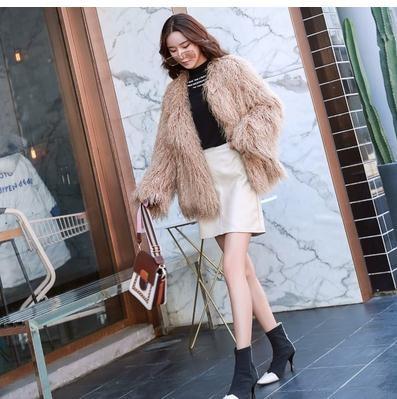 kaki Section Manteaux Mode K948 Femmes Black De khaki Élégant Femelle Fourrure Courte Laine Faux Vestes Hiver Outwear Femme Noir Chaud fK1PAddq