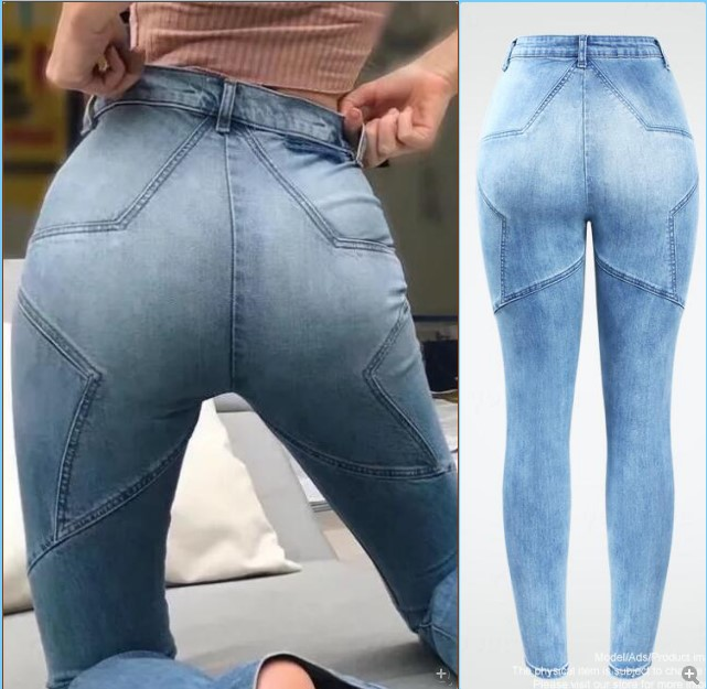 2130 New High Waist   Jeans   Buttocks Five -Pointed Star Patchwork   Jeans   For Women Fashion True Denim Woman Pants Trousers