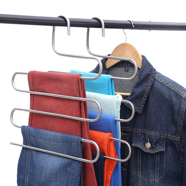 S Type Multi Function Pants Hanger 5 Layers Hanging Clothing Hanger  Stainless Steel Hanging