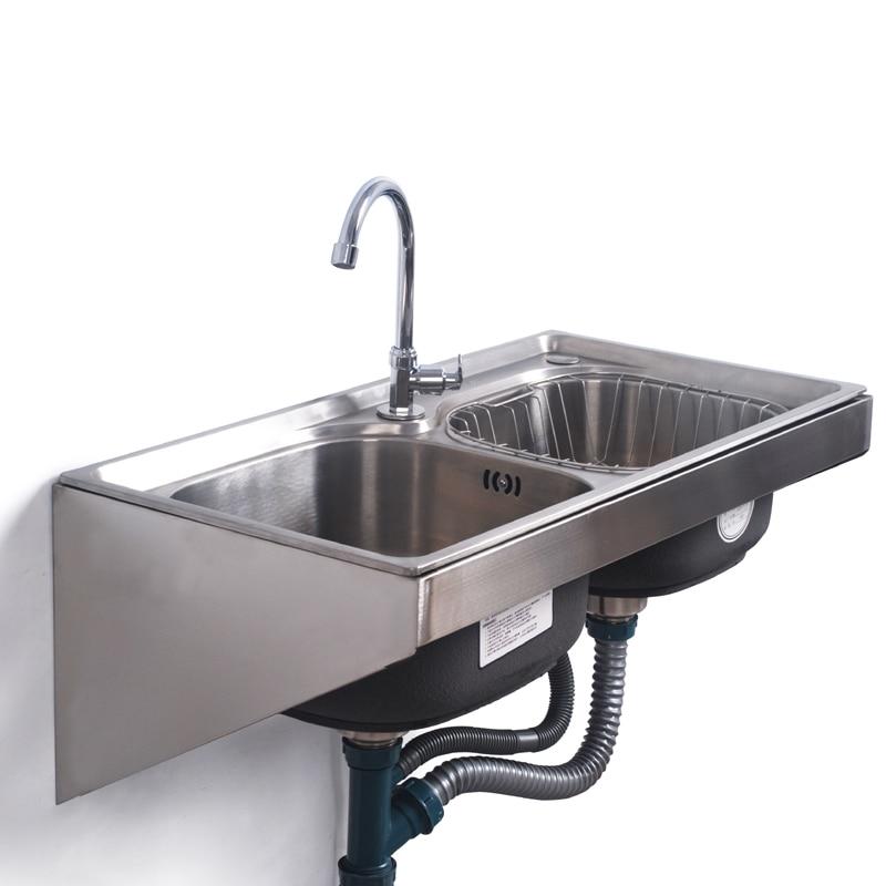 Кухонная раковина из нержавеющей стали настенные раковины с фиксированным кронштейном один/двойной чаша бак для кухни мойка для мытья овощ