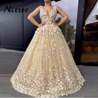 Champagne Prom Evening Dresses For Formal Turkish Arabic Dubai Prom Gowns Muslim Beading Dress Kaftan Glitter Abendkleider Gowns
