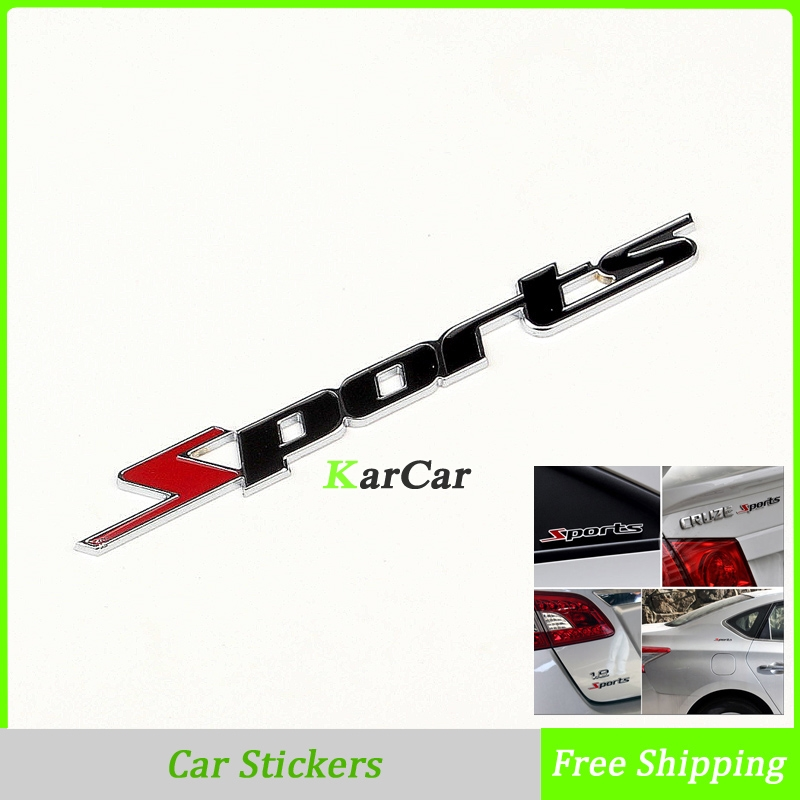 1 X Fashion Car Sticker Sports Word Letter 3D Chrome Metal Style, Car Sticker Emblem Badge Decal Auto Decor Free Shipping mayitr metal 3d black limited edition sticker universal car auto body emblem badge sticker decal chrome emblem car styling