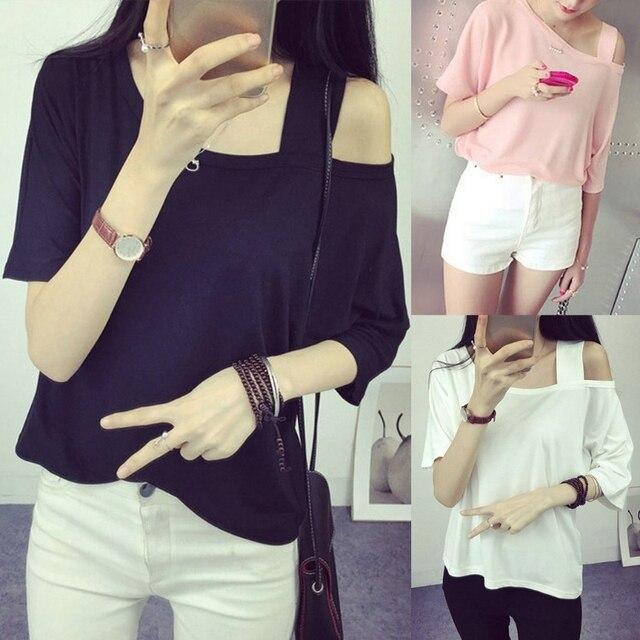 קיץ נשים בנות כבוי כתף הולו מתוך חולצה חצי שרוול קצר חולצות מוצק