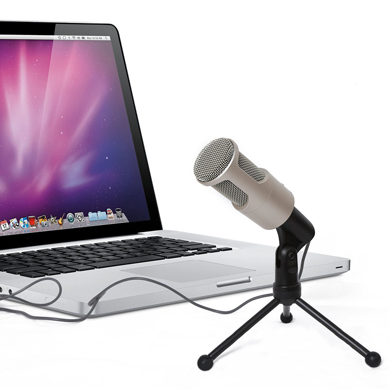 3.5mm Audio Wired Stereo Condenser Microphone With Holder Stand for PC Chatting Singing Karaoke Laptop 8 SL@88