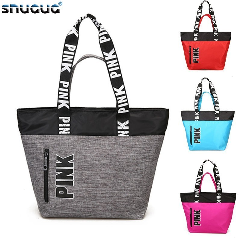 SNUGUG Outdoor Women's Sport Bag Nylon Ladies Handbags Travel Portable Pink Gym Bags Women Waterproof Fitness Bag For Training