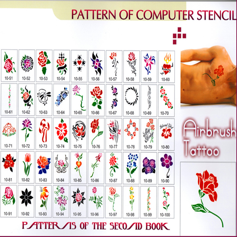 Reusable Flowers Designs Tattoo Stencils For Airbrushing Self-adhesive Body Art Tattoo Stencil Book 10 1 book 312 design album card bit book tattoo stencils template for tattoo cones glitter body art painting maps makeup tools