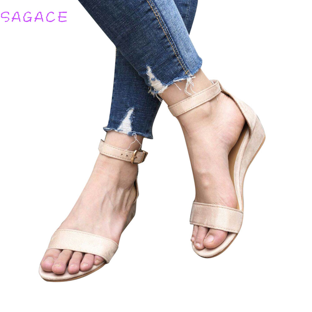 SAGACE 2018 Women Sandals Roman Sandals Women High Heels Wedges Ankle Strap Summer Platform Casual Shoes wedges Lady SIZE 35-43 sgesvier european style ankle strap women summer shoes wedges high heels sandals platform causel shoes plus size 34 43 vv431