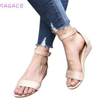 9972e276 SAGACE 2018 sandalias romanas Sandalias Mujer tacones altos cuñas tobillo  Correa verano plataforma Casual zapatos cuñas señora talla 35 -43