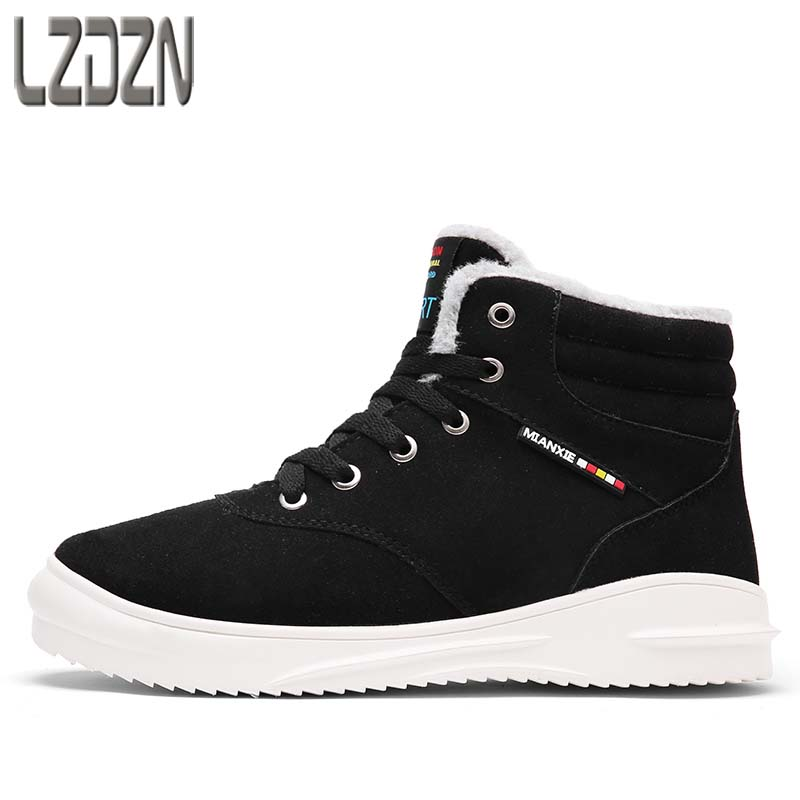 2017 new tide men's winter boots leisure sports shoes in winter and warm young junior high school students in cashmere winter environmental awareness in junior secondary school education