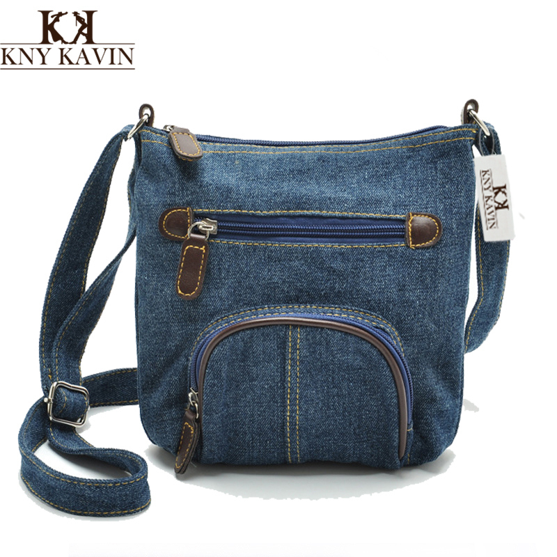 KNY KAVIN Women Blue Denim Shoulder Bags Female Casual Messenger Bag Classical European Front Pocket Cowboy Crossbody Bags