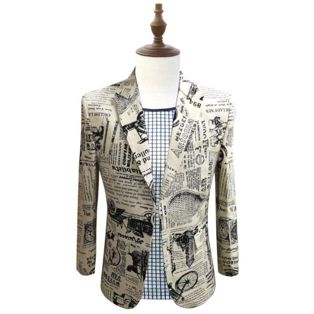 948d308da7 Newspaper Print Blazer Slim Fit Prom Party Club Blazer Men Suit Jacket DJ  Host Stage Wedding Designer Cotton Blazer Homme 5xl
