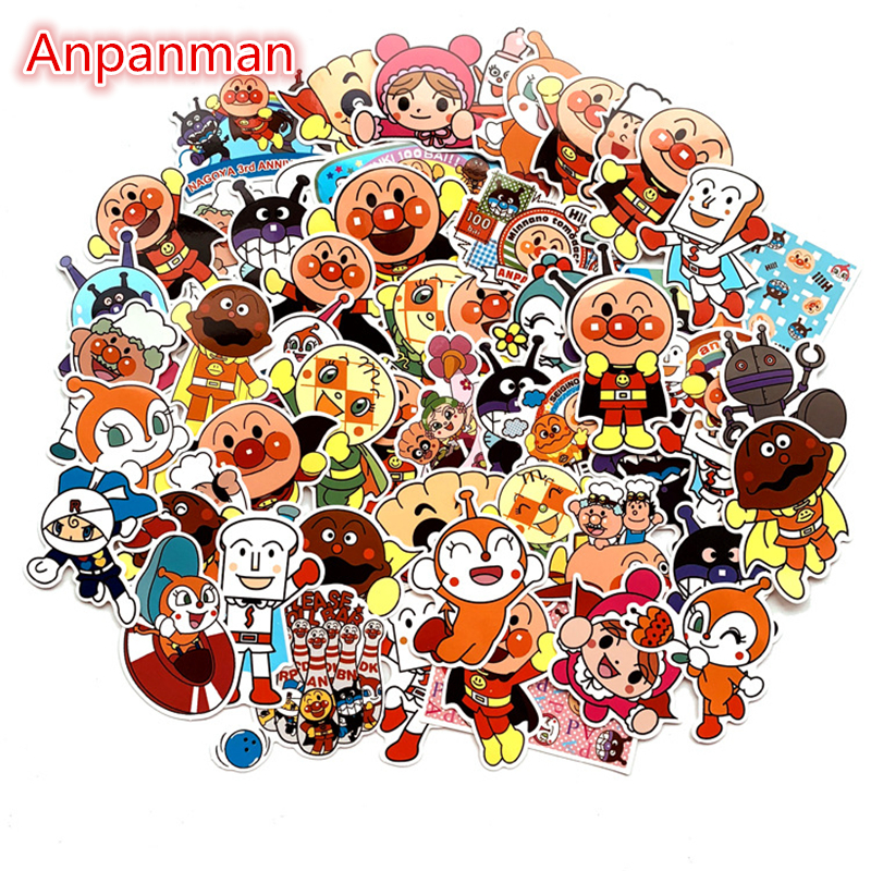 57pcs Kawaii Cartoon Anpanman Waterproof Stickers Laptops Skateboard Snowboard Luggage Sticker Kids Bedroom Decor Sticker Decals