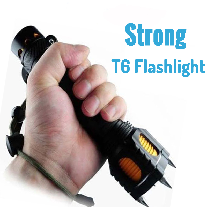 Powerful LED FlashLight Torch Light Cree T6 Searchlight Tactical Lanterna Torche 18650 Self Defense Attack Alarm Hunting Light