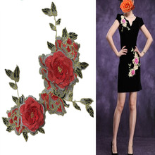 SASKIA 1Pcs 3d Peony Embroidery Patches Applique Sewing On Dress Clothing Decoration Accessory Diy Red Flower Lace  Floral Patch