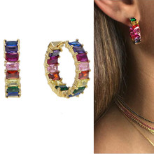 baguette cubic zirconia hoop earring gold filled sparking cz hot fashion delicate rainbow colorful european women CZ hoop jewely(China)