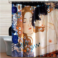 Italy famous painting Mary Polyester Waterproof Shower Curtain Virgin Mary Modern Design Curtains For Bathroom 180x180cm