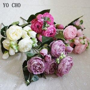 Image 5 - YO CHO de rosas artificiales de peonía, ramo de flores de seda para decoración de boda, peonías blancas, rosas rojas, falsas