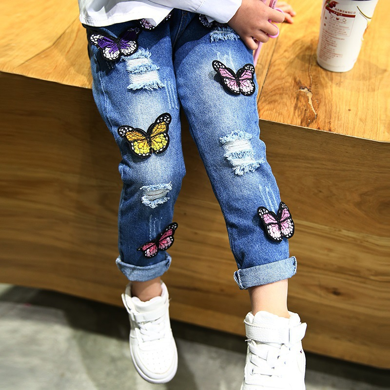 Hot Sale Girl's Broken Hole Jeans Spring Autumn High Quality Embroidered Cute Animals Fashion Kids Leisure Pants Kid Clothes