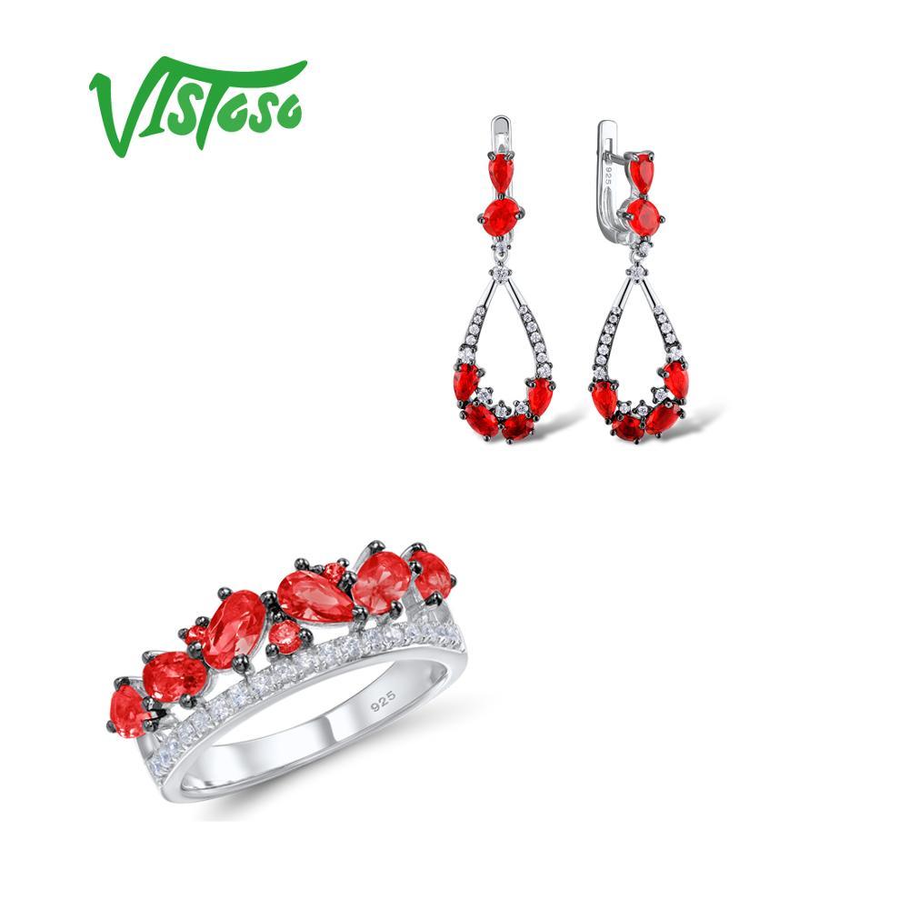 VISTOSO ensembles de bijoux pour femme rouge cristal blanc CZ pierres ensemble de bijoux boucles d'oreilles bague 925 en argent Sterling mode bijoux fins