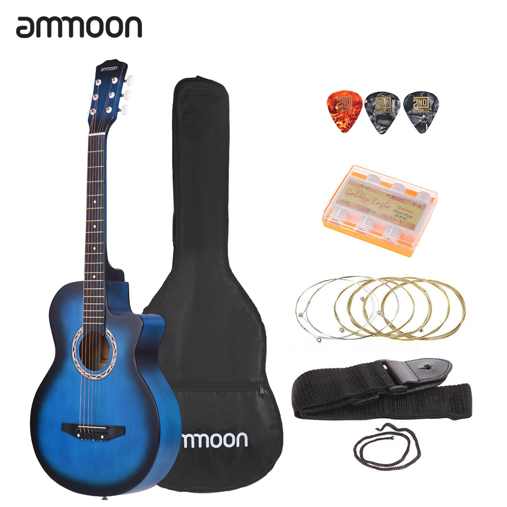 "ammoon 38"" Guitar Guitarra 6-String Cutaway Folk Acoustic Guitar with Bag Strap String Tuner Pick for Beginners Music Lovers"