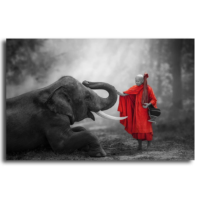 Black and white  zen Elephant and buddha art Oil Painting on Canvas  red Art Modern Wall Picture for Living Room Decor Office