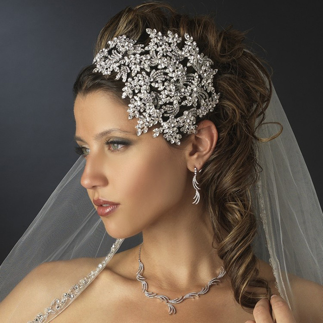 luxurious pageant prom tiara crown rhinestone crystal couture leaves side accented wedding bridal headband hair piece