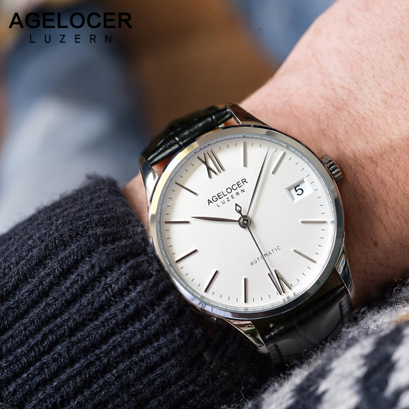 AGELOCER Swiss Fashion Mechanical Watch for Men Analog Display Automatic Watches White Dial Wrist Watches 80 Hours Power Reserve mce fashion scale gear dial analog automatic mechanical watch