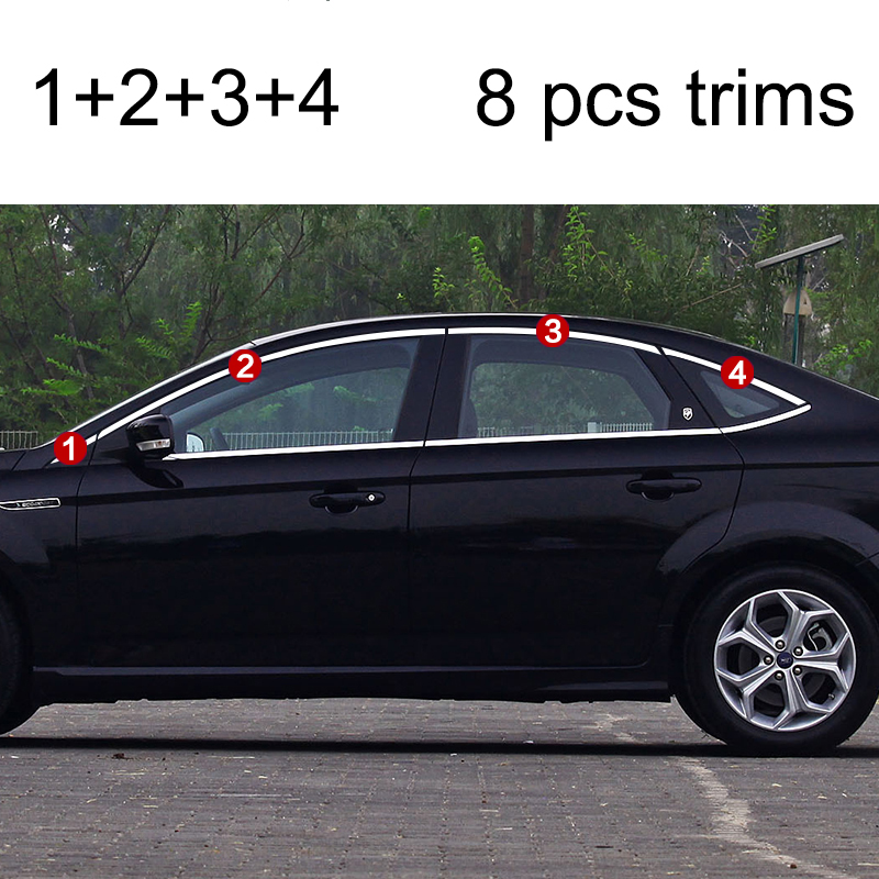 lsrtw2017 304 stainless steel car window trims for ford mondeo 2007 2008 2009 2010 2011 2012 2013 2014 3rd generation