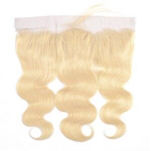 Image 4 - Пряди Gabrielle 613, 30 дюймов, с фронтальной бразильской волной, светлые пряди, с закрытием, прозрачные, кружевные, Remy, человеческие волосы
