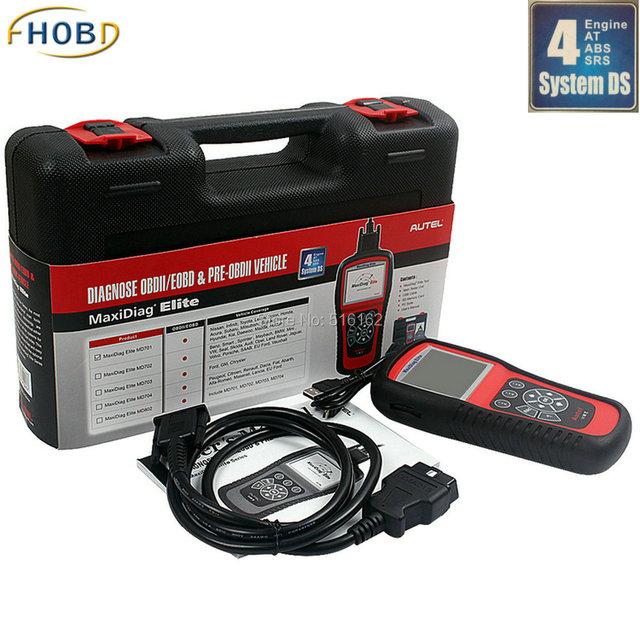 Autel MaxiDiag Elite MD802 para 4 Sistema de Fluxo de Dados Modelo + motor + Transmissão + ABS + Airbag Código Scanner Online atualização