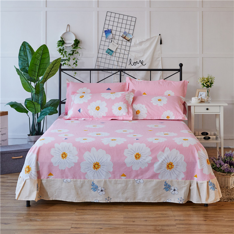 Red+White Print Pattern 3Pcs Flat Sheet 100% Cotton Soft Bed Sheet For Child Kids Adults Queen King Size Mattress Pillow Covers