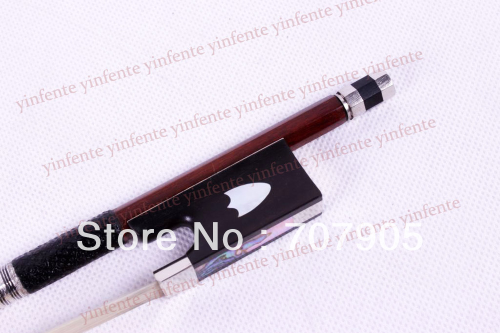 2x Violin Bow Shield shape Shell inlay  frog SnakeWood Silver Color Bow string violin bow 4 4 snake wood straight pretty inlay fr og high quality 11 dot inlay flower white horse hair