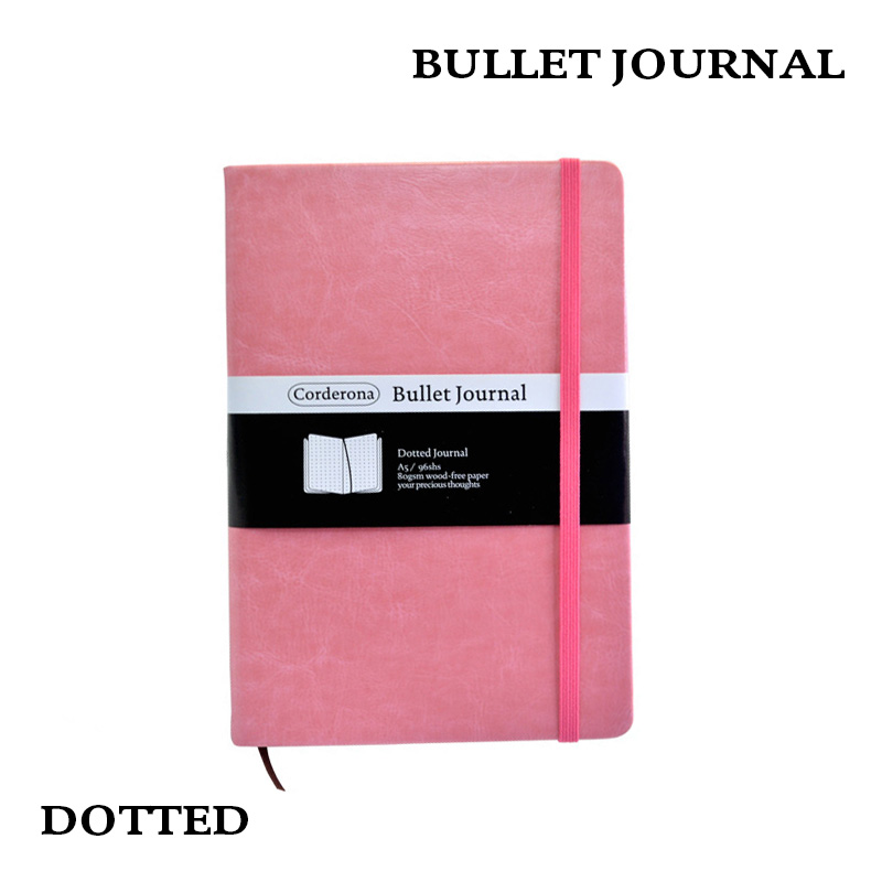 Good Deal Dot Grid Hard Cover Candy Color A5 Pu Notebook Elastic