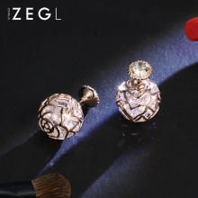 hot deal buy zegl double-sided earrings women's fashion universal 18-k gold-plated rose earrings pendant dangle earrings