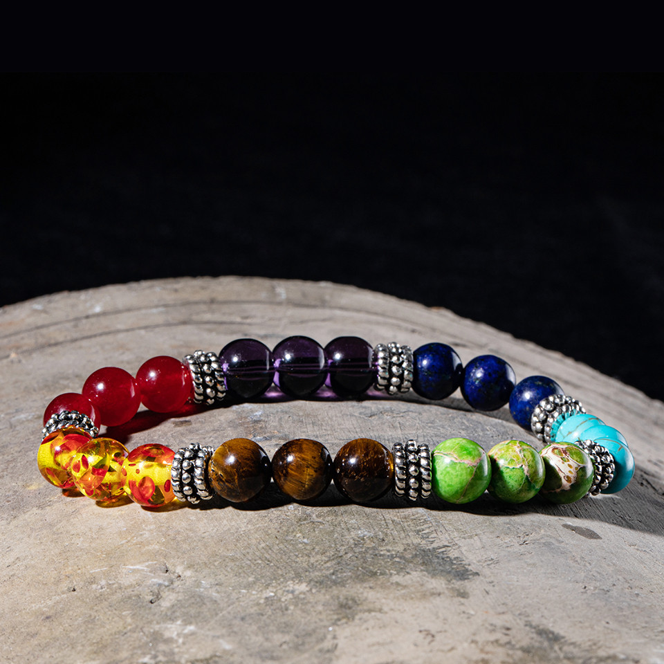 Fashion all Natural Stone Beads 7 Chakra Bracelets for Women Men Yoga Buddha Player 18 cm Tiger eyes stones Make a wish Bracelet (7)