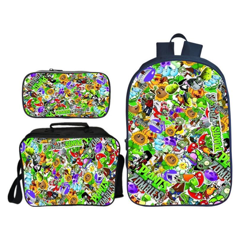 Hot Sale 3 Pcs/Set Fashion Printing 3D Plants VS Zombies Children Backpacks For Kids Cartoon Dinosaur School Bags Boys Bookbag