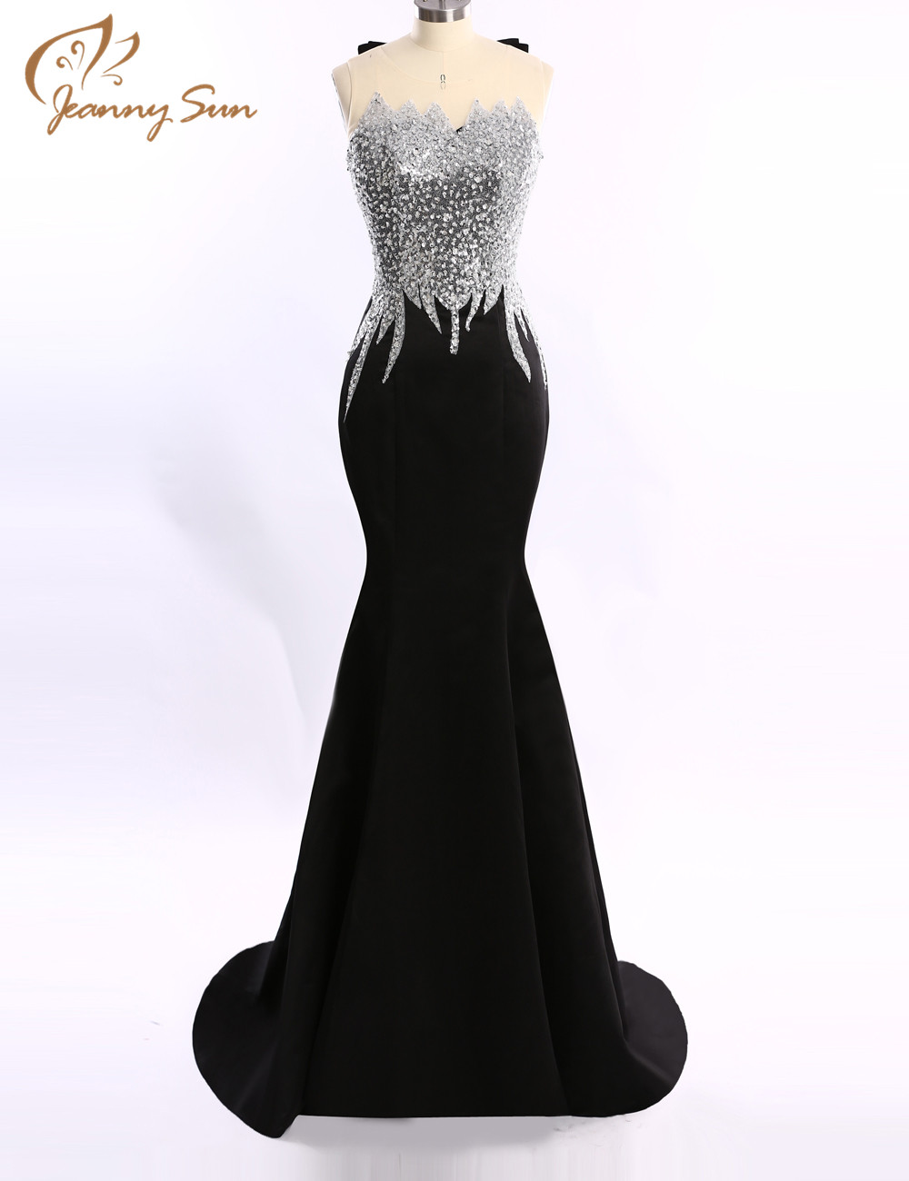 Jeanny Sun Sexy Long Evening Dress Silver Sequin Black ...