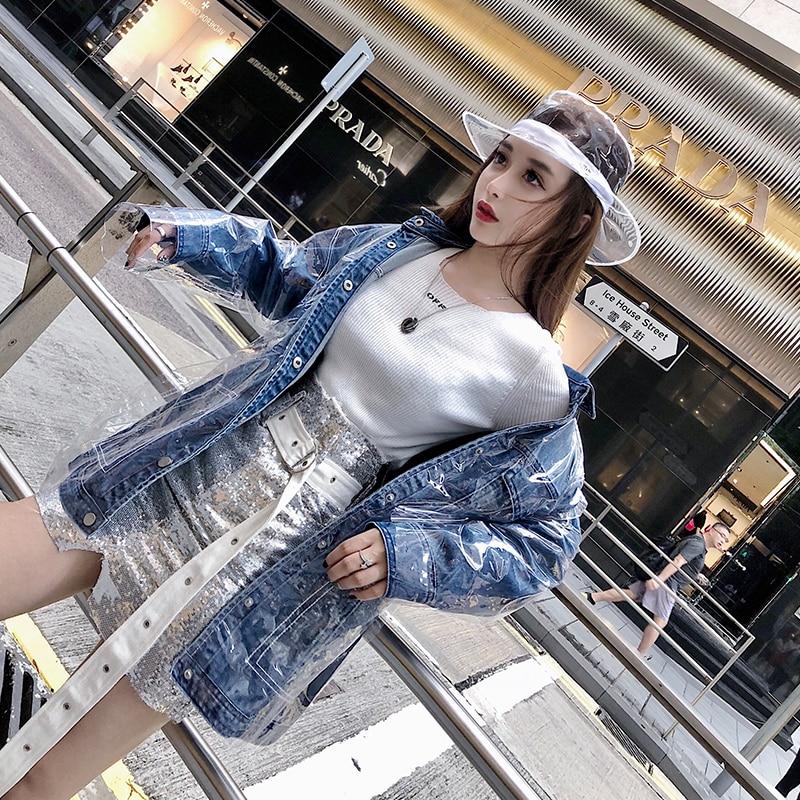 Denim Imperméable Dames Poches Unique Solide Jeans Poitrine Blue Streetwear Femmes 2018 Jean Lxunyi Lâche Nouveau Femelle Veste Manteaux qfStx