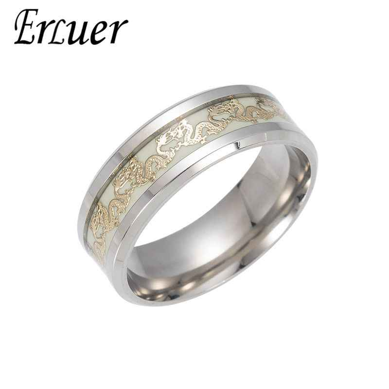 cec17f8f7a ERLUER Luminous Dragon Rings for Men Black Gold Blue Color Stainless Steel  Rings Trendy Glow In