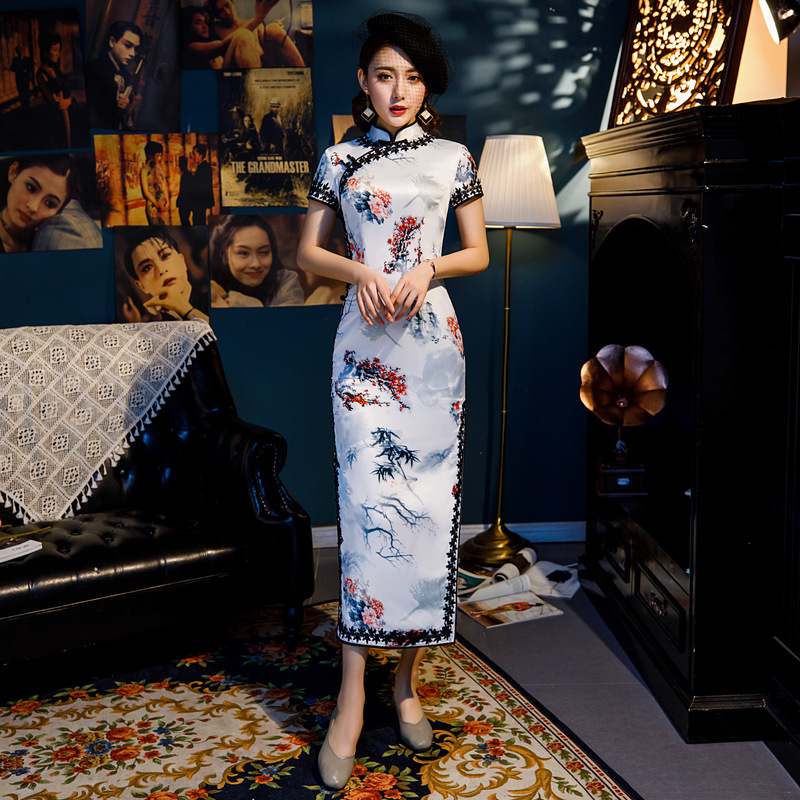 White Lace side Stylish Ladies Chinese Traditional Dresses Handmade Button Qipao Mandarin Collar Sexy Rayon Cheongsam M XXXL