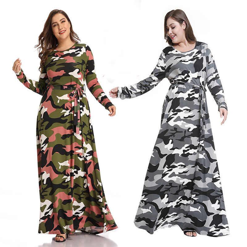 المسلمات فستان طويل طباعة التمويه الخريف والشتاء فساتين كبيرة حجم العباءة الحجاب ماكسي رداء نساء Vestido متواضع