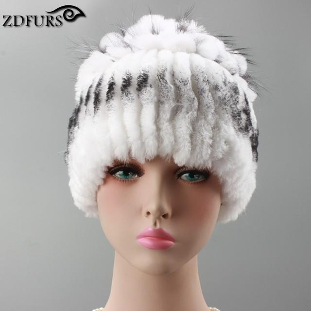 ZDFURS * gorros de inverno coelho rex chapéu de pele de malha para mulheres chapéu de pele com pele de raposa chapéu flor top das mulheres casuais ZDH-161020
