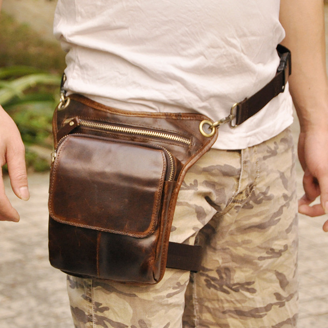 New Top Quality Genuine Real Leather Cowhide men vintage Brown Small Waist bag Pack Phone Case leg bag