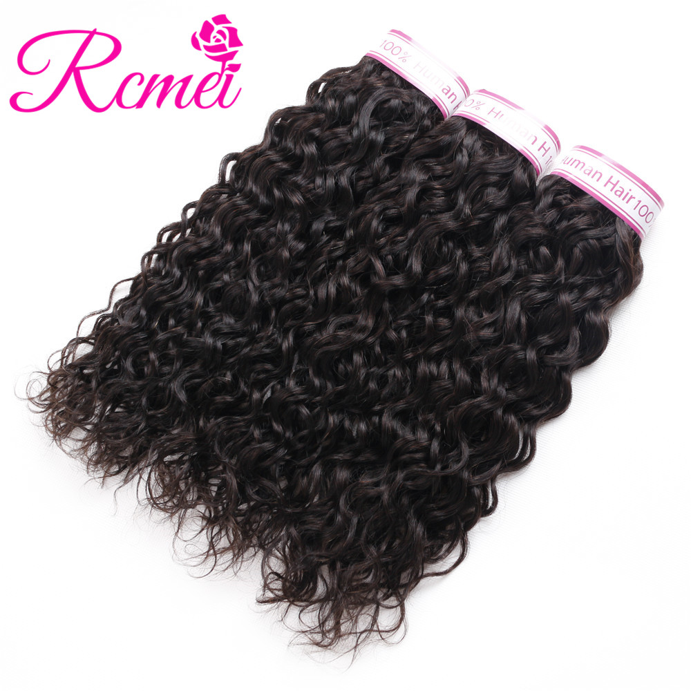 RCMEI Mongolian Water Wave 3 Bundles /Lot Free Shipping Non-Remy Hair 8-28 inch Natural Color 100 Human Hair Weave Extensions