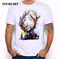 Camping Hiking TEEHEART   t shirt men rainbow color lion/wolf/horse animal print personality o-neck white t shirt  men top