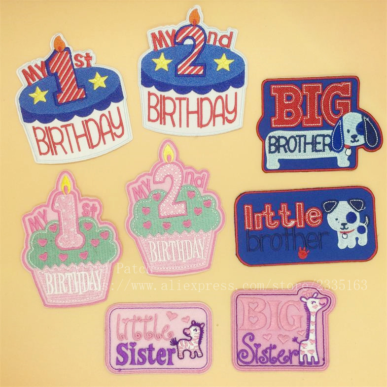 1 Pcs Big Little Sister Brother 1st 2nd Birthday Embroidered Iron On Patches Accessories Clothing Bag