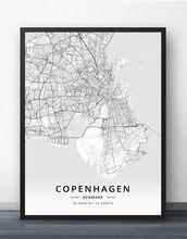 Копенгагенская карта odense Дания плакат